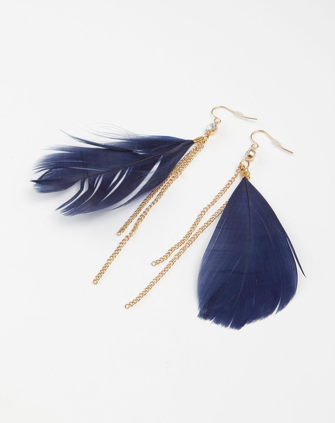 蓝/金色羽毛个性耳环