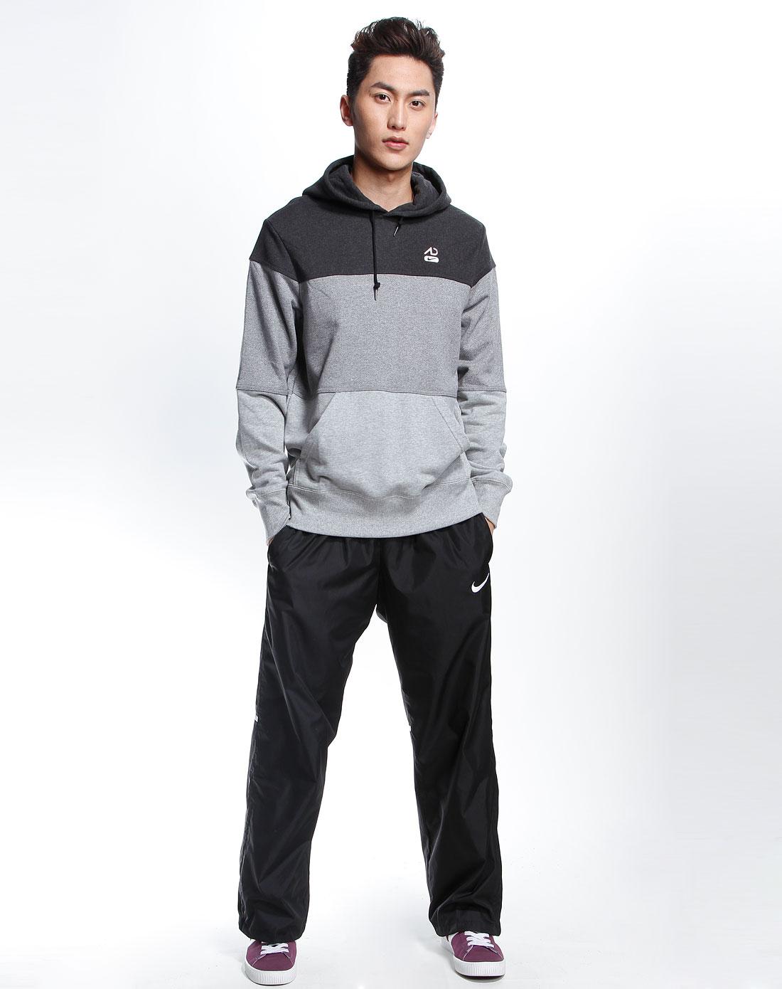 深灰/浅灰色运动生活针织长袖连帽套头衫