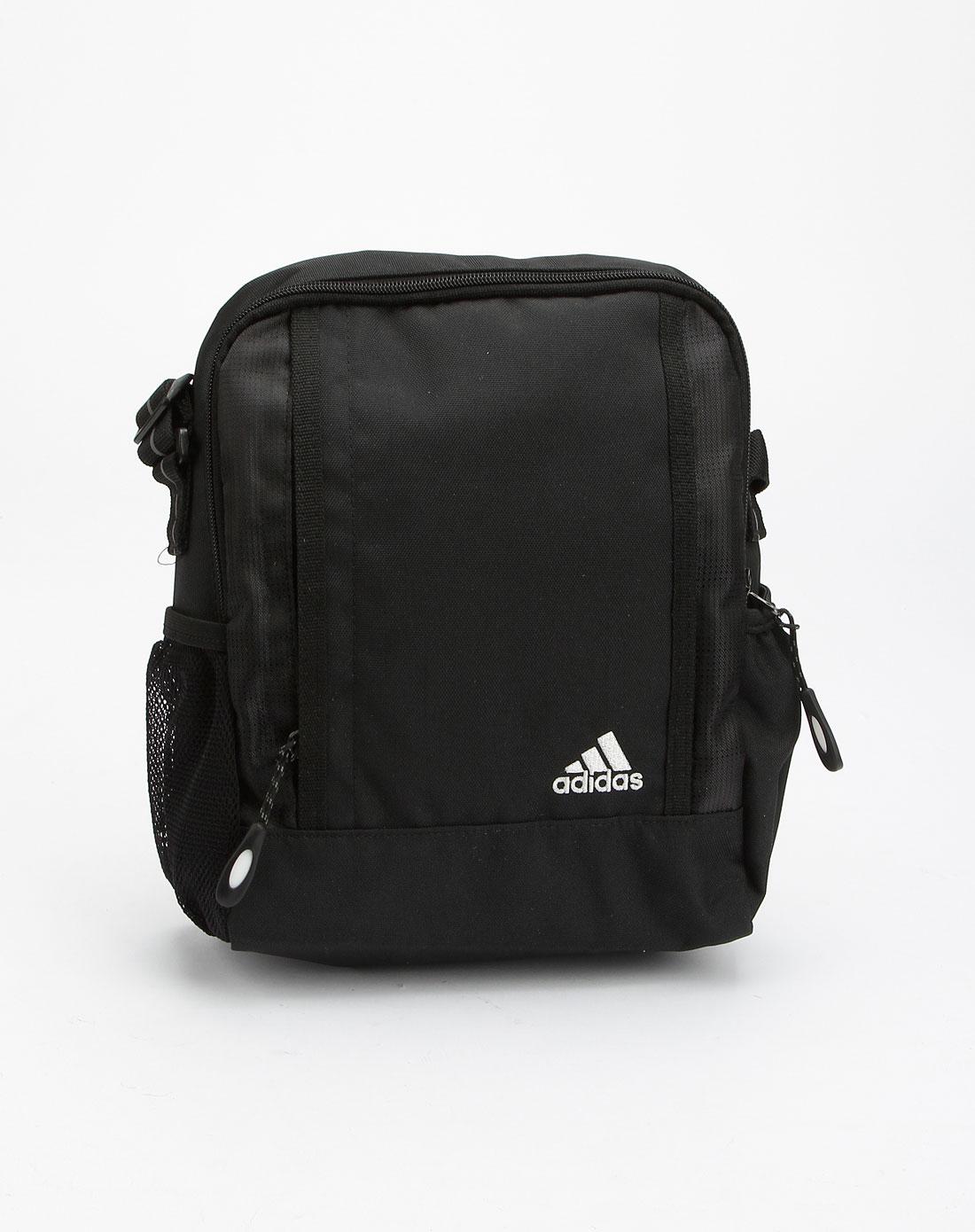 阿迪达斯adidas男装专场-男款黑/白色简约斜挎包