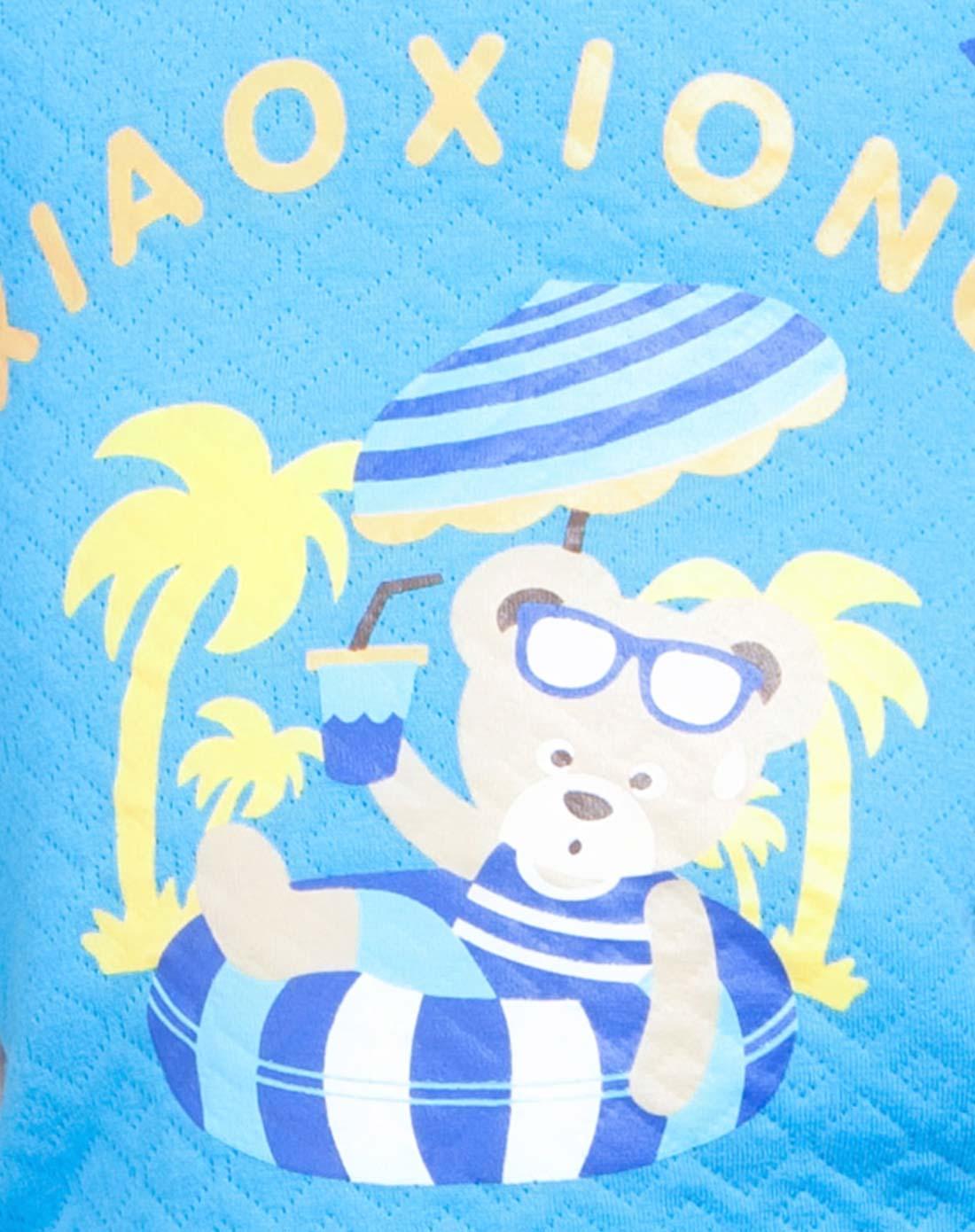 男童天蓝冲浪小熊印花保暖儿童内衣套装