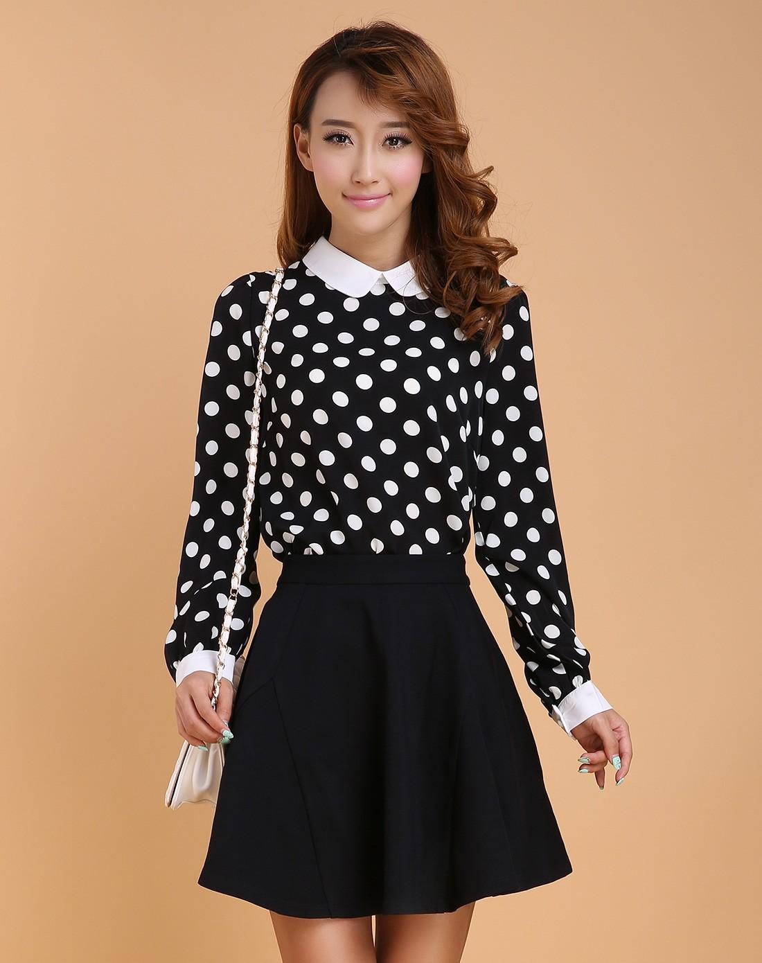三福时尚男女装sattachera女款黑/白色波点长袖雪纺黑