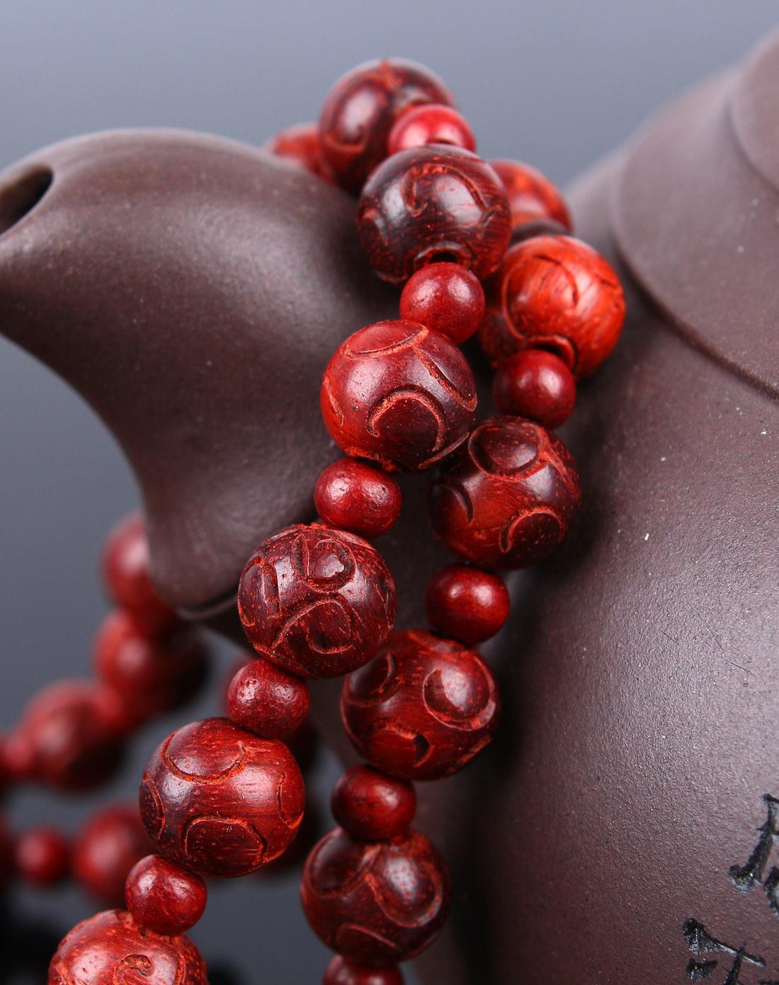 悦木之源饰品专场-天然小叶紫檀雕刻如意手串