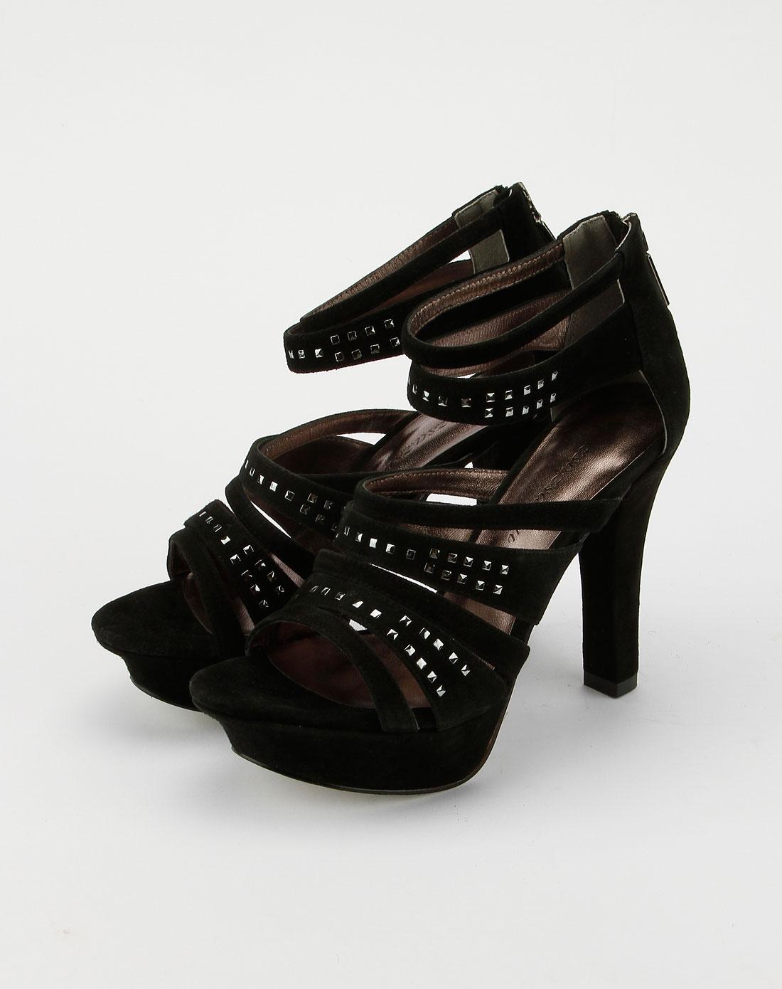 zsazsazsu 黑色铆钉高跟凉鞋