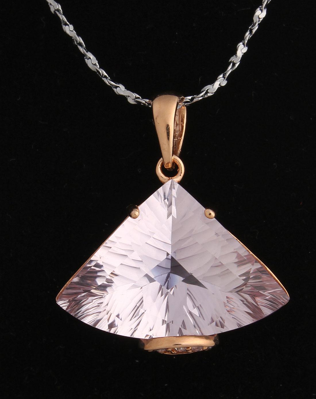 天然紫水晶切面925银镀玫瑰金吊坠(附权威鉴定证书)香港国际珠宝展