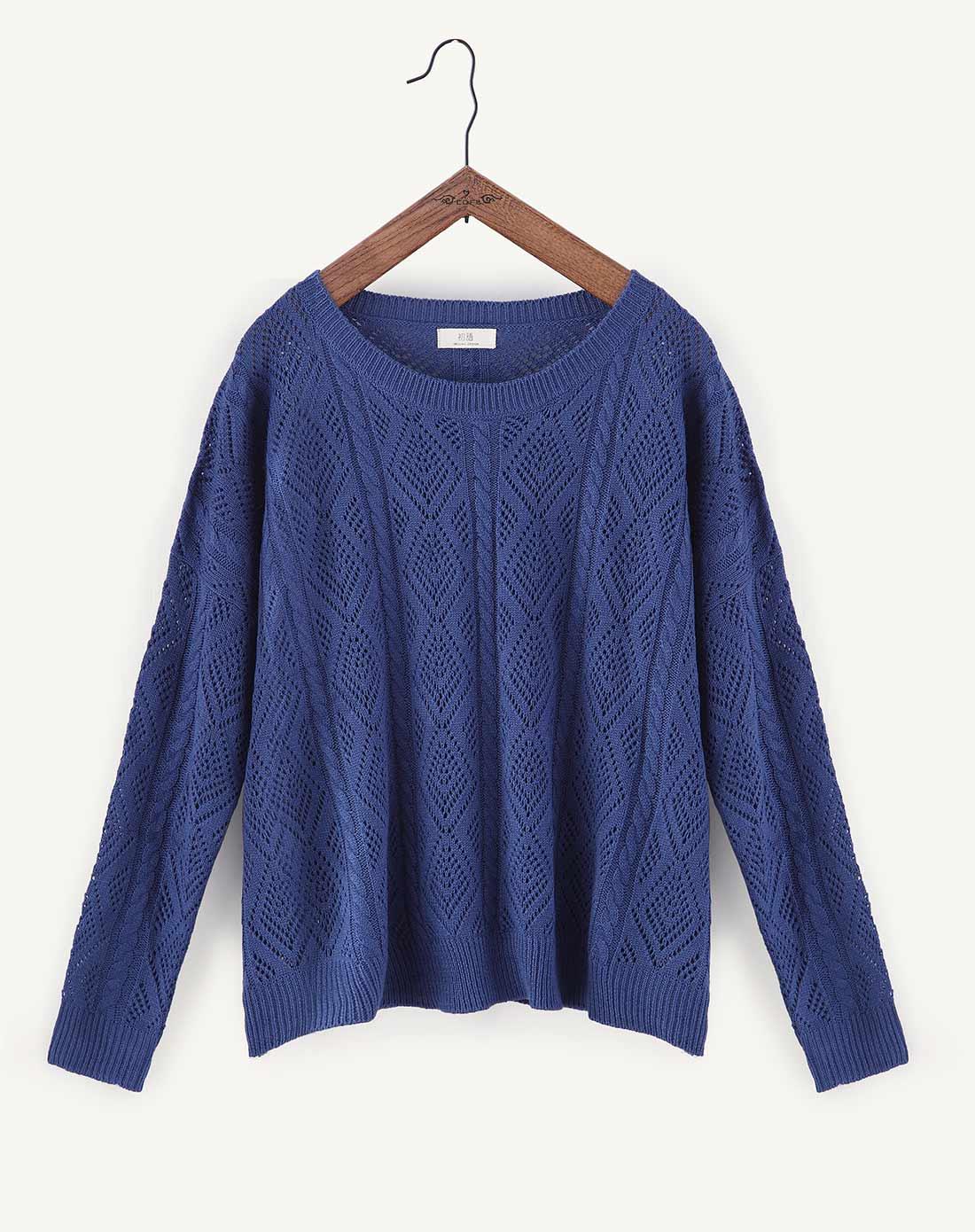 星空蓝色宽松菱形花纹镂空毛衣