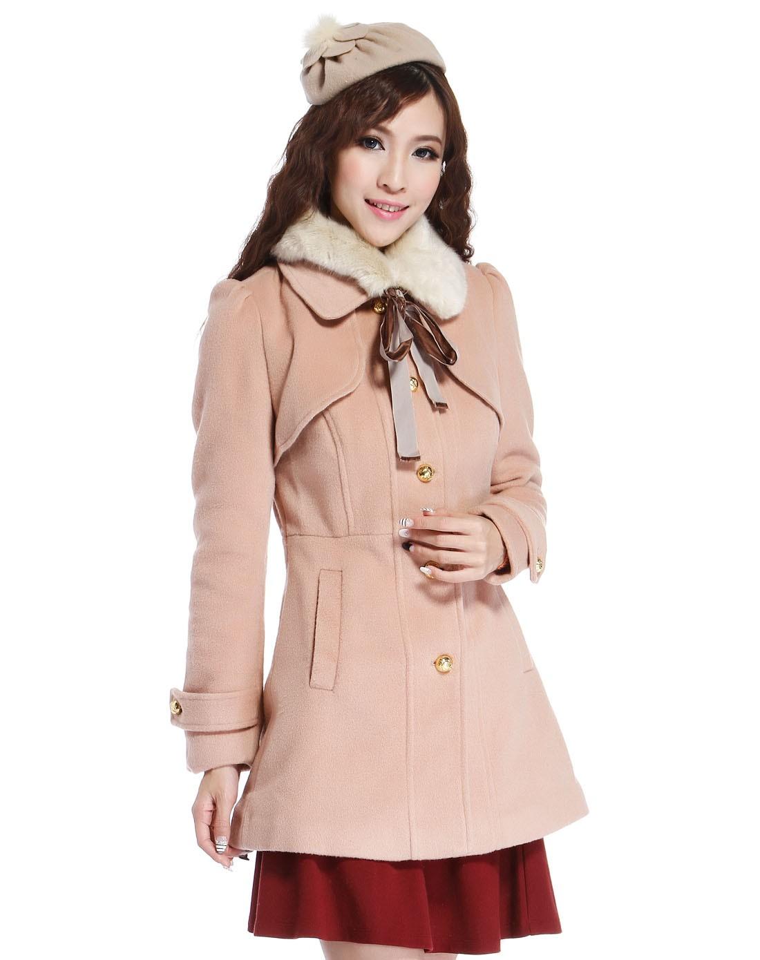 森马暗粉色毛领素雅长袖呢子大衣12105413016-5311