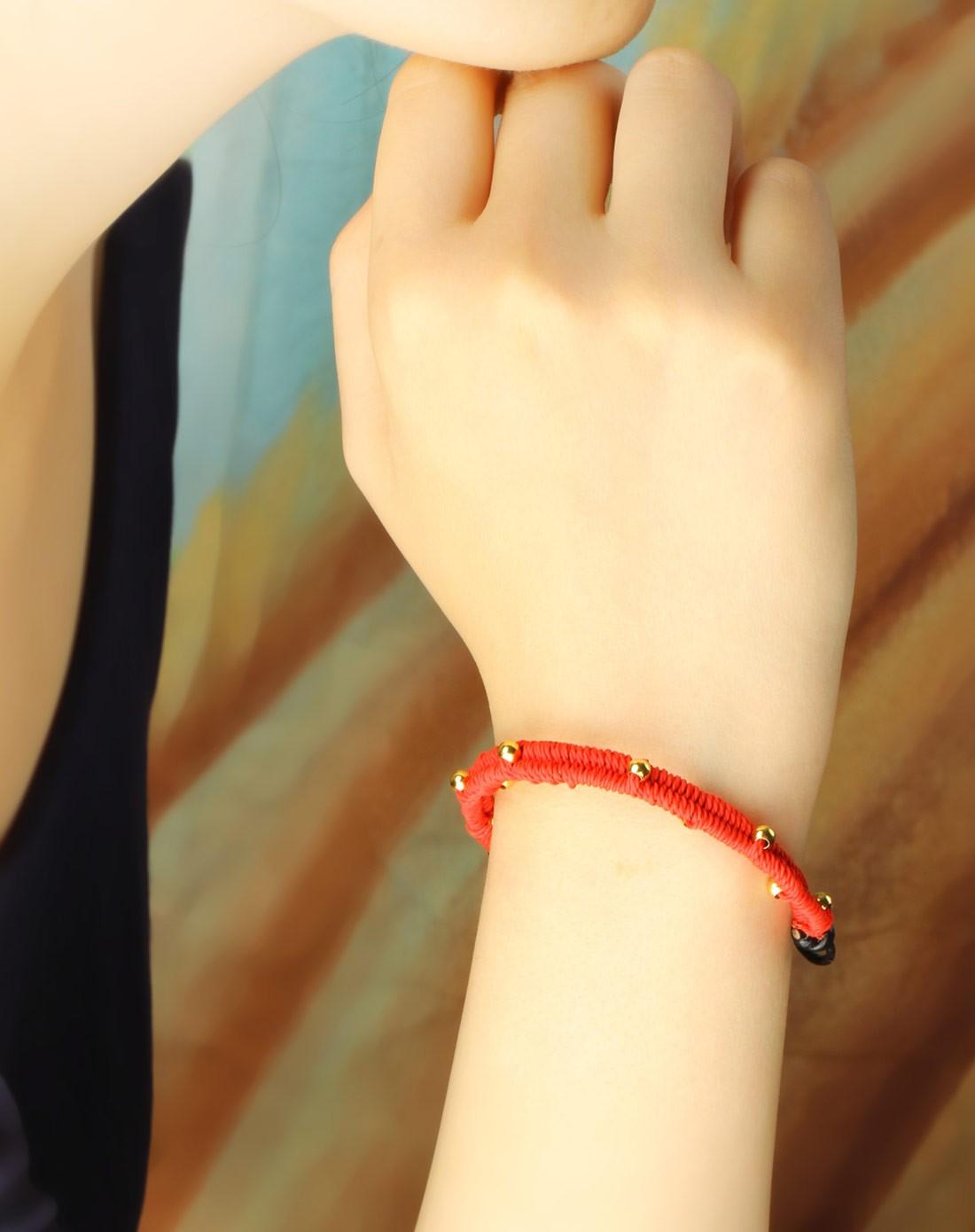 女款金铜珠红色手工编制手链