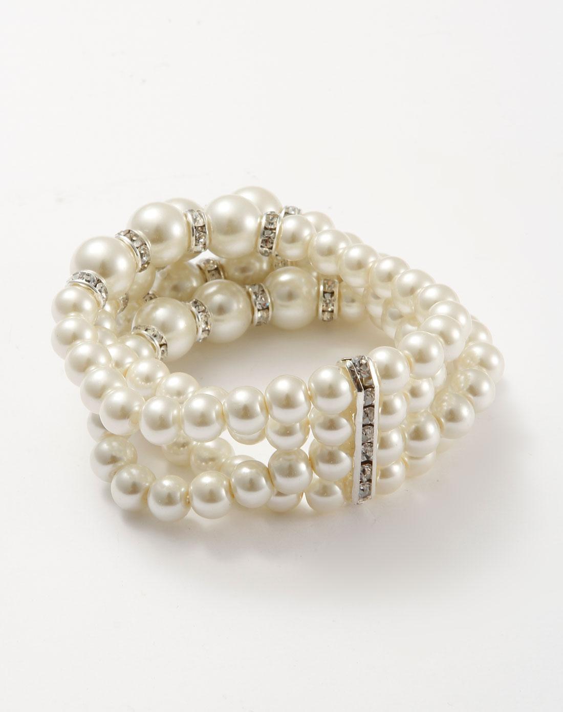 白色多层珍珠时尚手链
