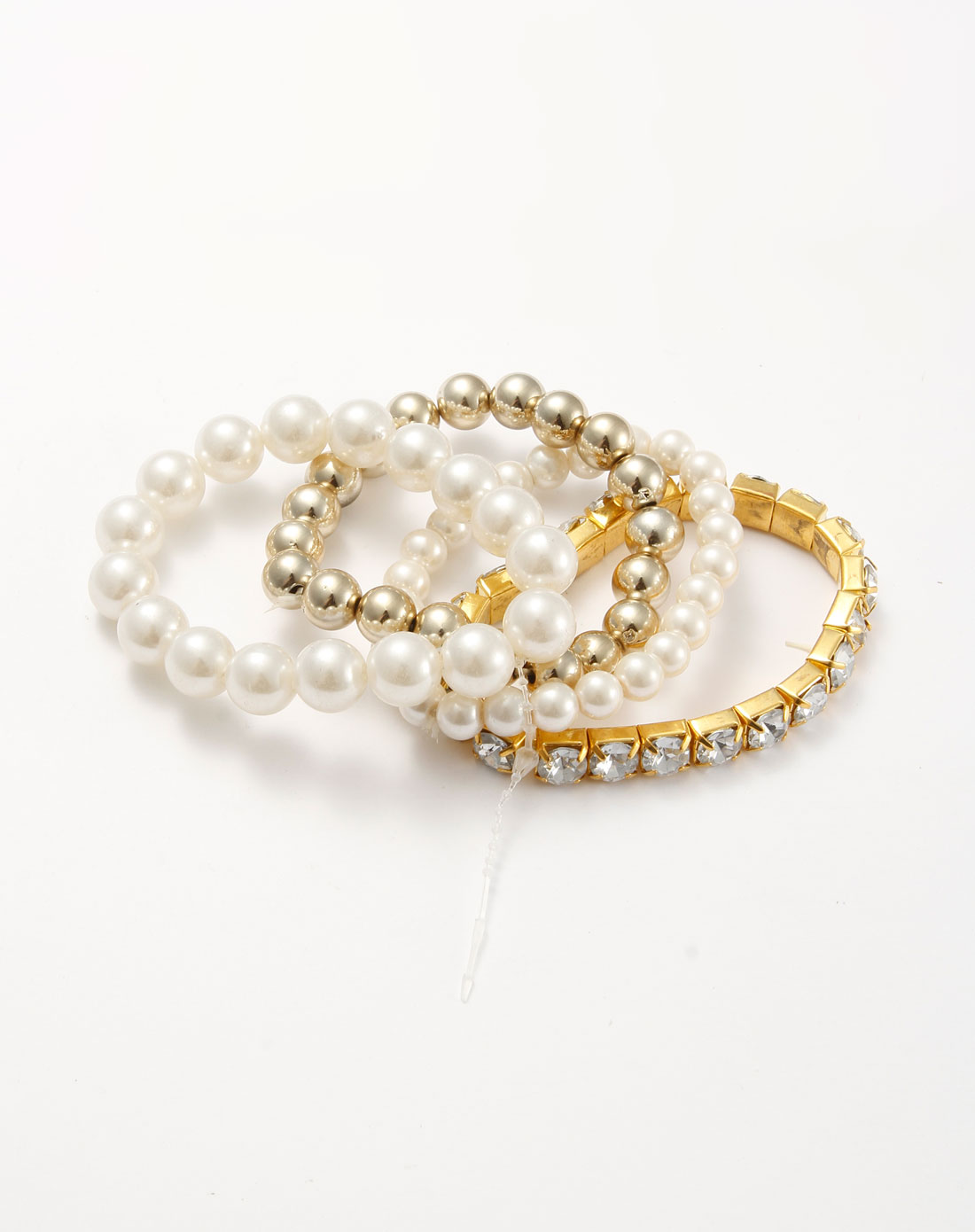 白/金色水晶珍珠优雅手链