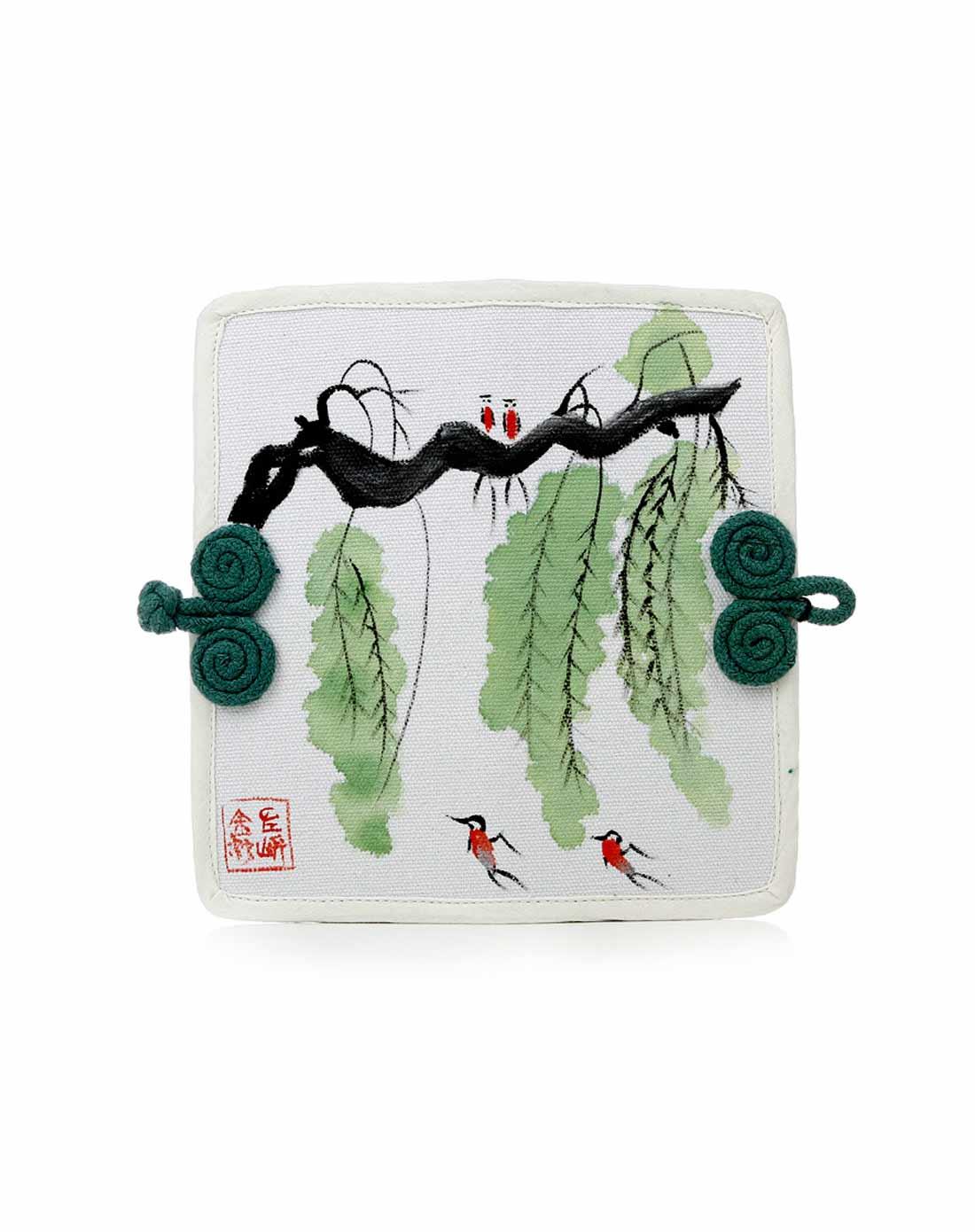 (燕鸣垂柳)中国风手绘帆布钱包