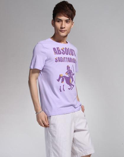 浅紫色射手座图案短袖t恤