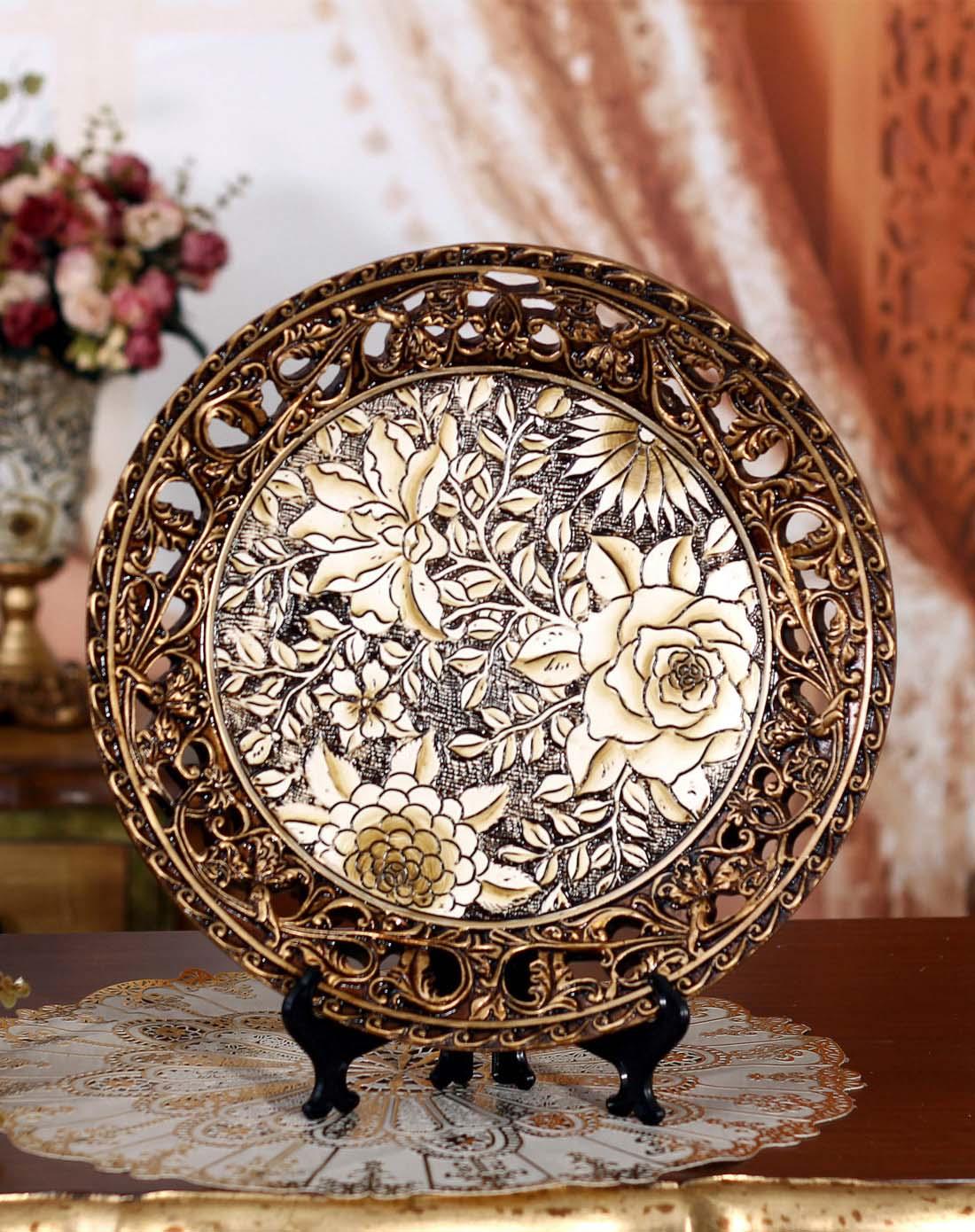 上居逸品 欧式奢华玫瑰雕花装饰盘