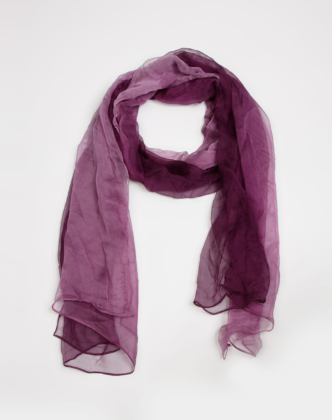 深紫色渐变桑蚕丝丝巾