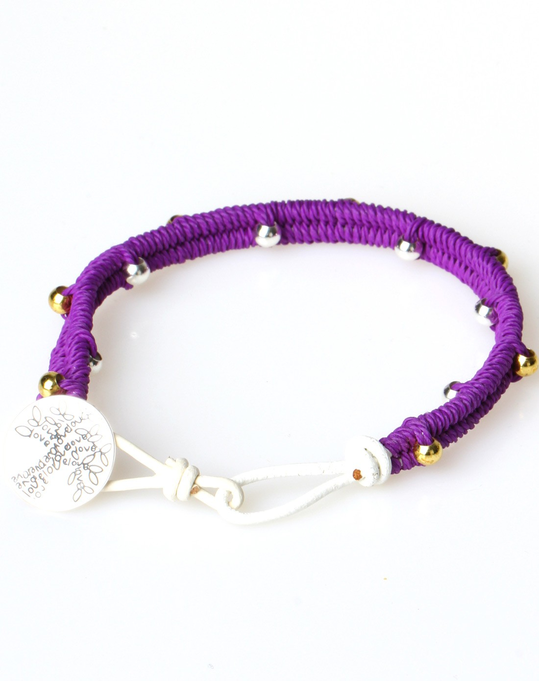 女款金银铜珠紫色手工编制手链