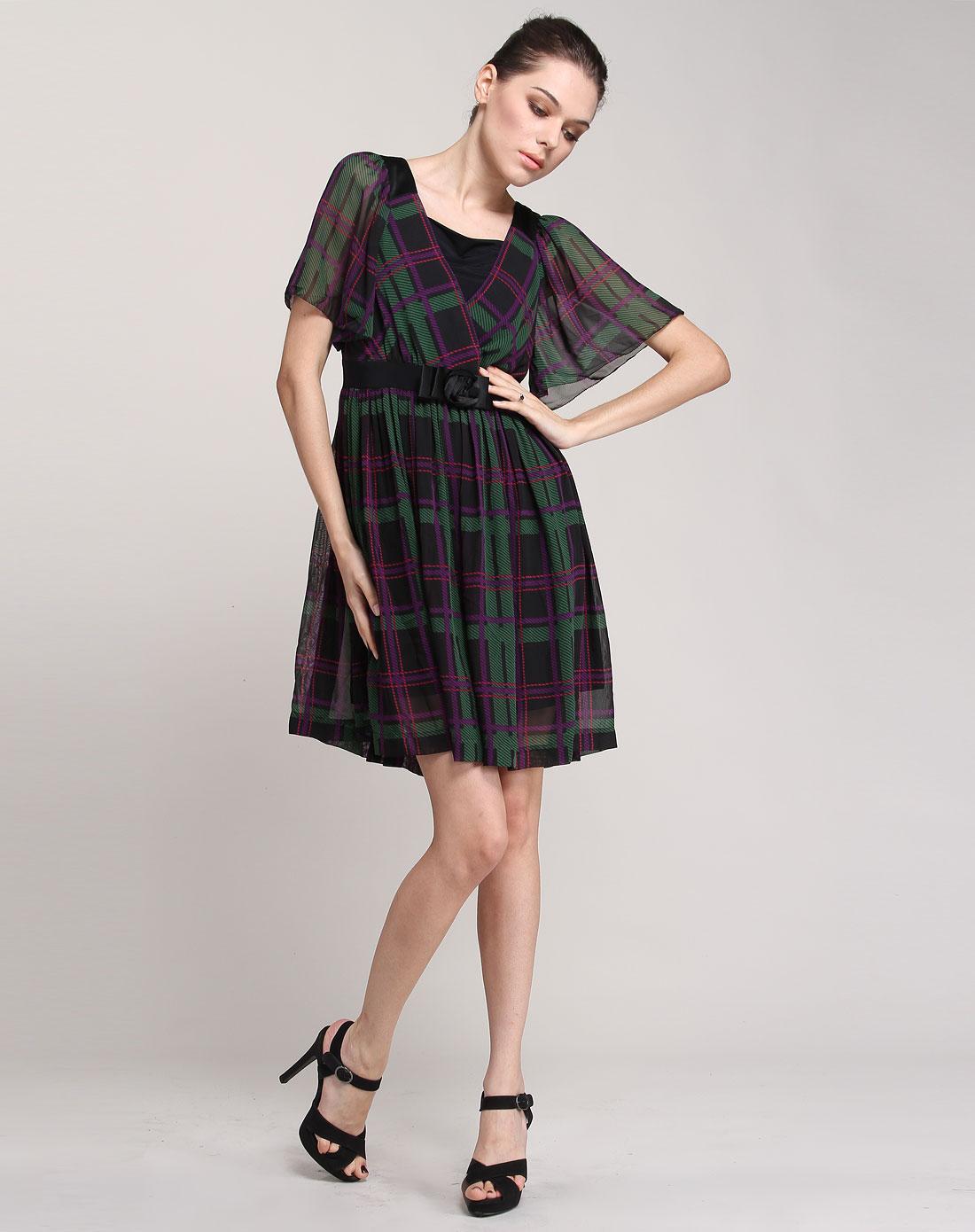 fairyfair女装专场-黑/绿/紫色时尚格纹短袖连衣裙