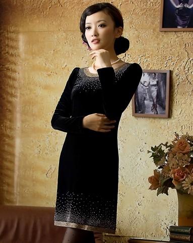 金丝绒长袖旗袍裙