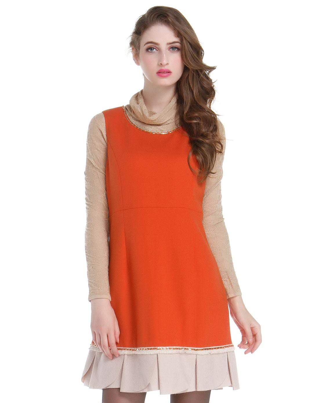 无袖跺(h��ފ9_橙色ol风格无袖连衣裙