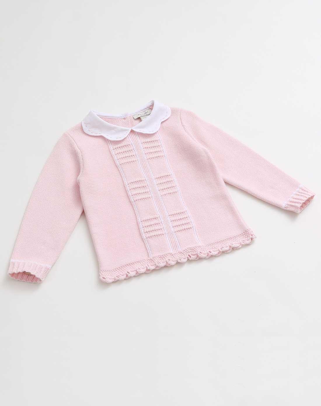 女童浅粉宝宝花纹针织上衣