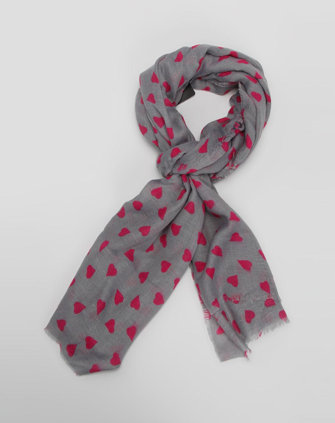 灰/粉红色心形围巾图片