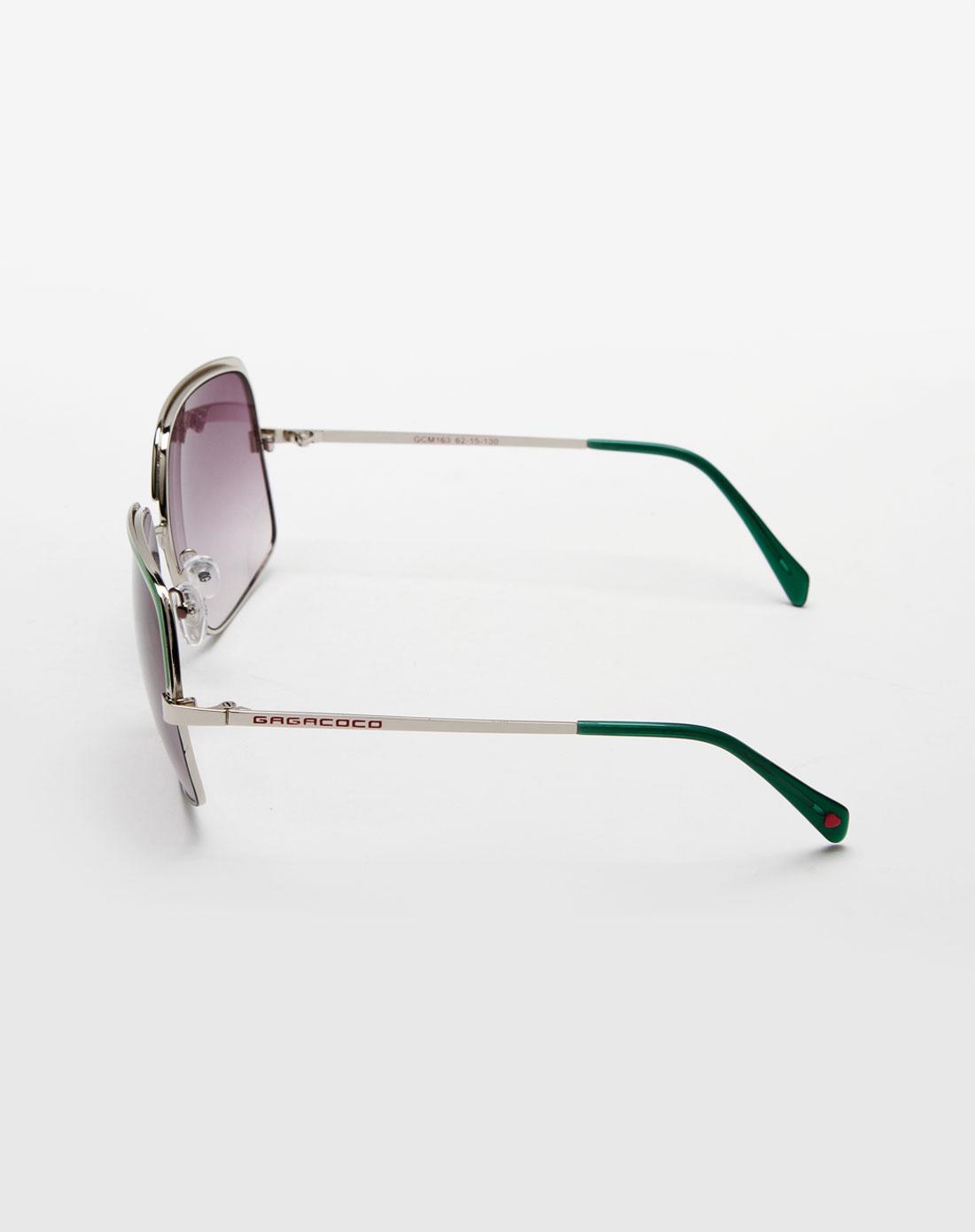 绿/黑色细边框太阳眼镜