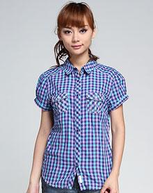 紫/蓝色格子短袖衬衫