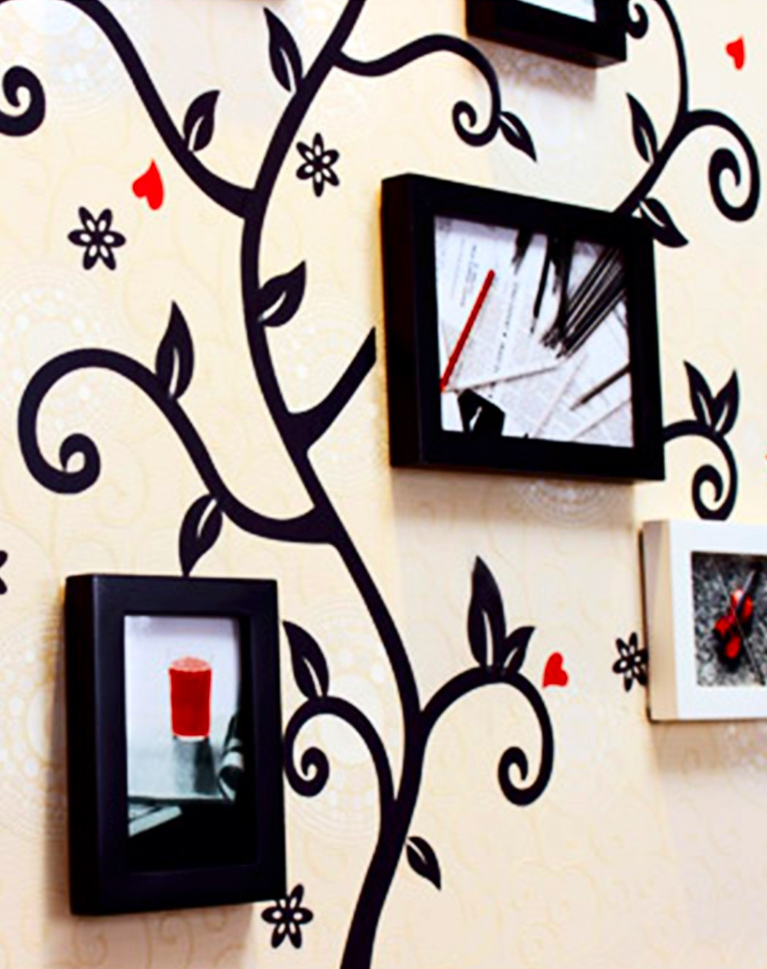 精品简约直板实木创意大树照片墙 黑白