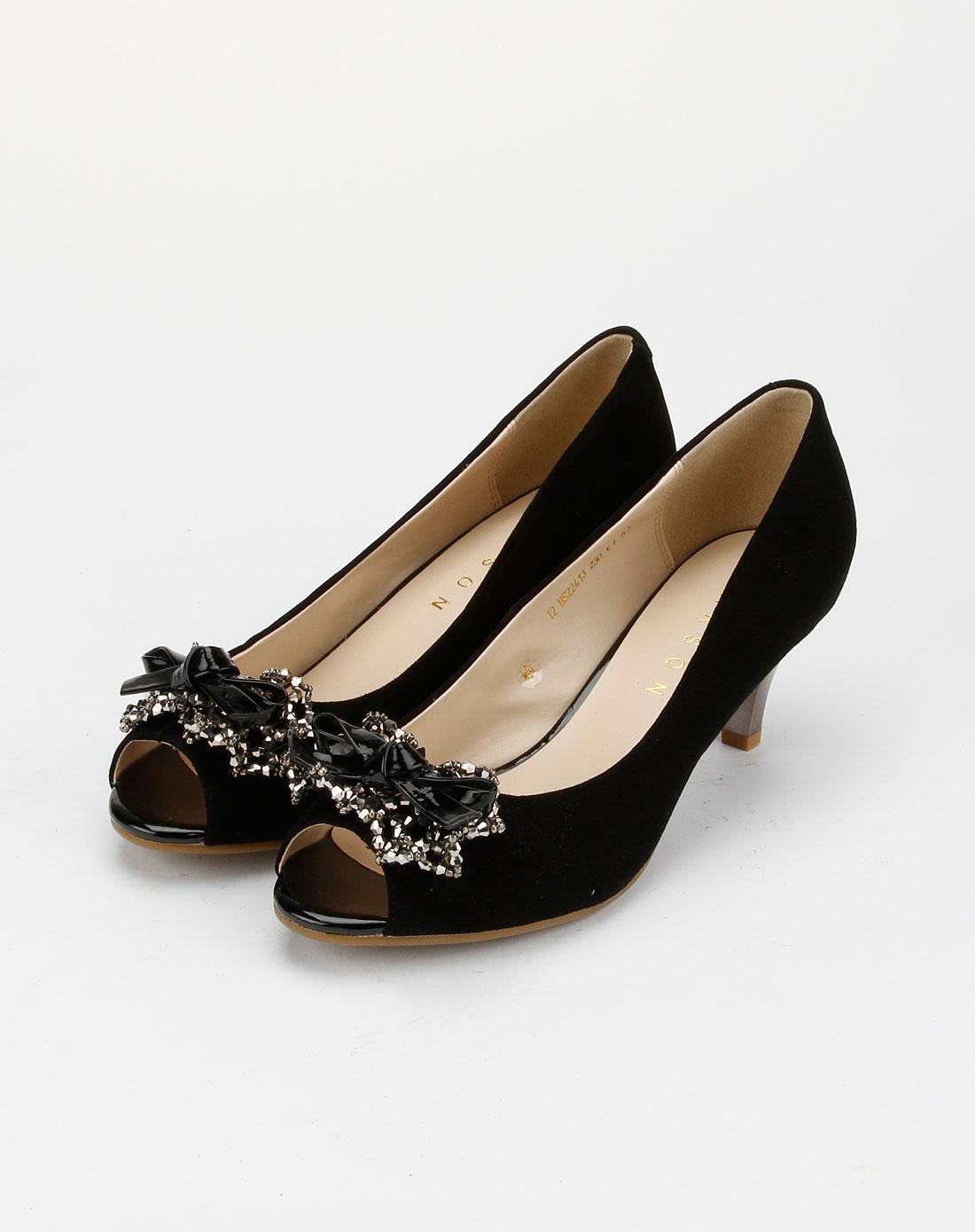 哈森harson女鞋专场-女款黑色时尚简约高跟鱼嘴鞋