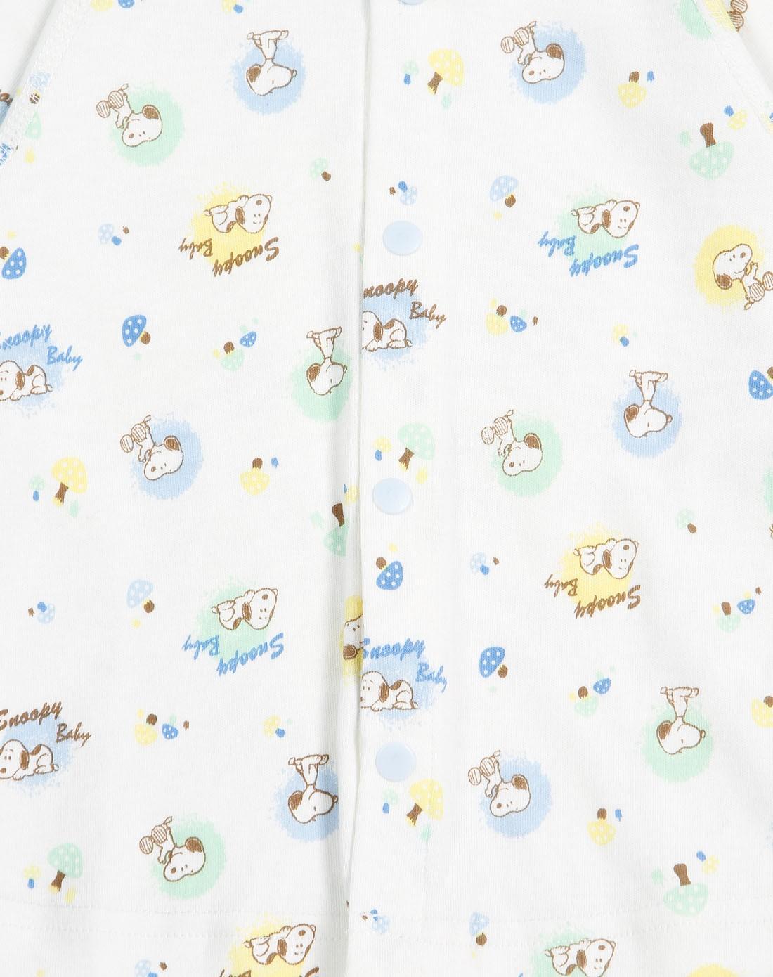 粉蓝baby_史努比snoopy baby中性粉蓝/白色满印图长袖开襟衫2b