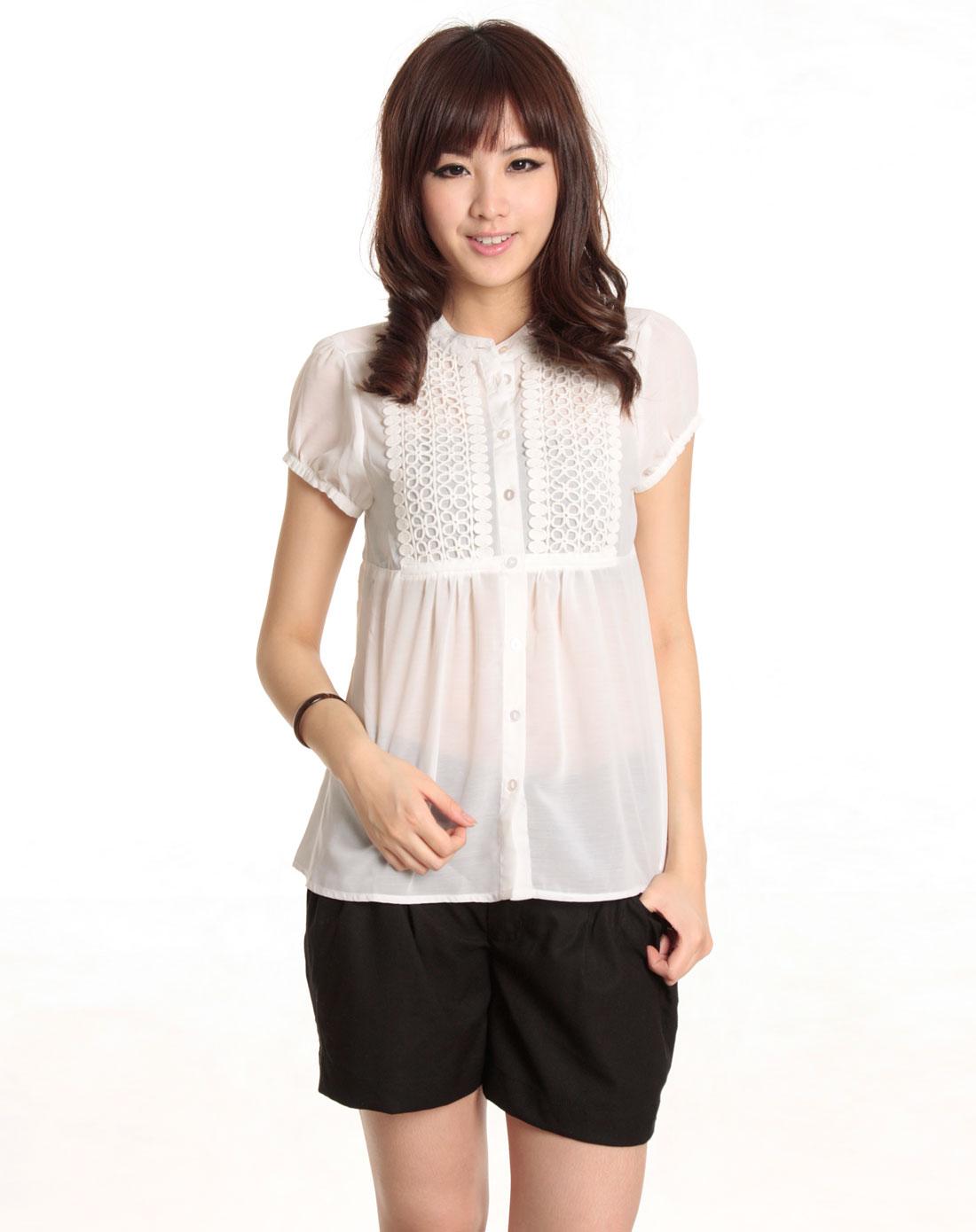 关中�9�c_特玞娜tapenade-白色短袖雪纺衬衫