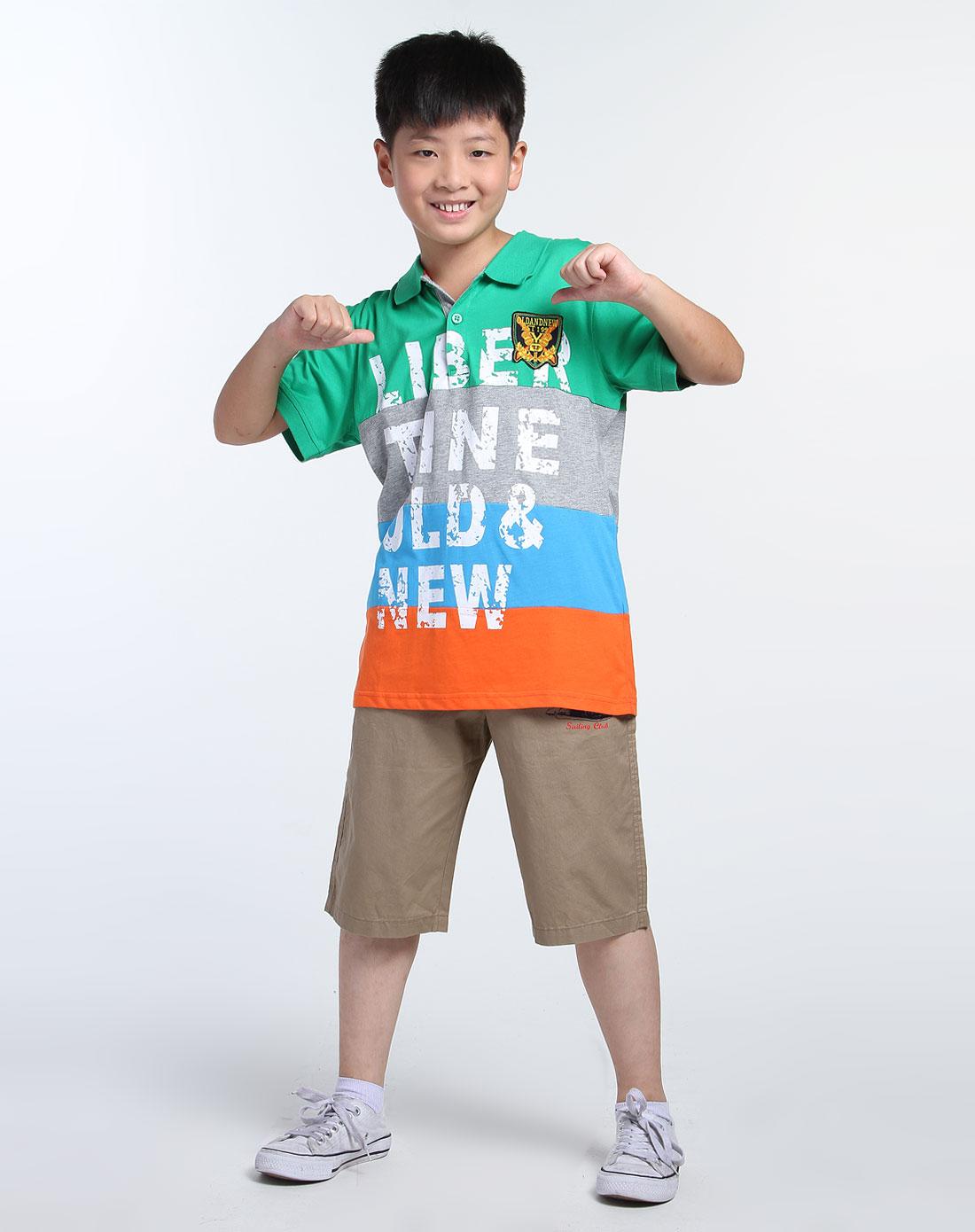 男童绿/彩色绣图短袖polo衫