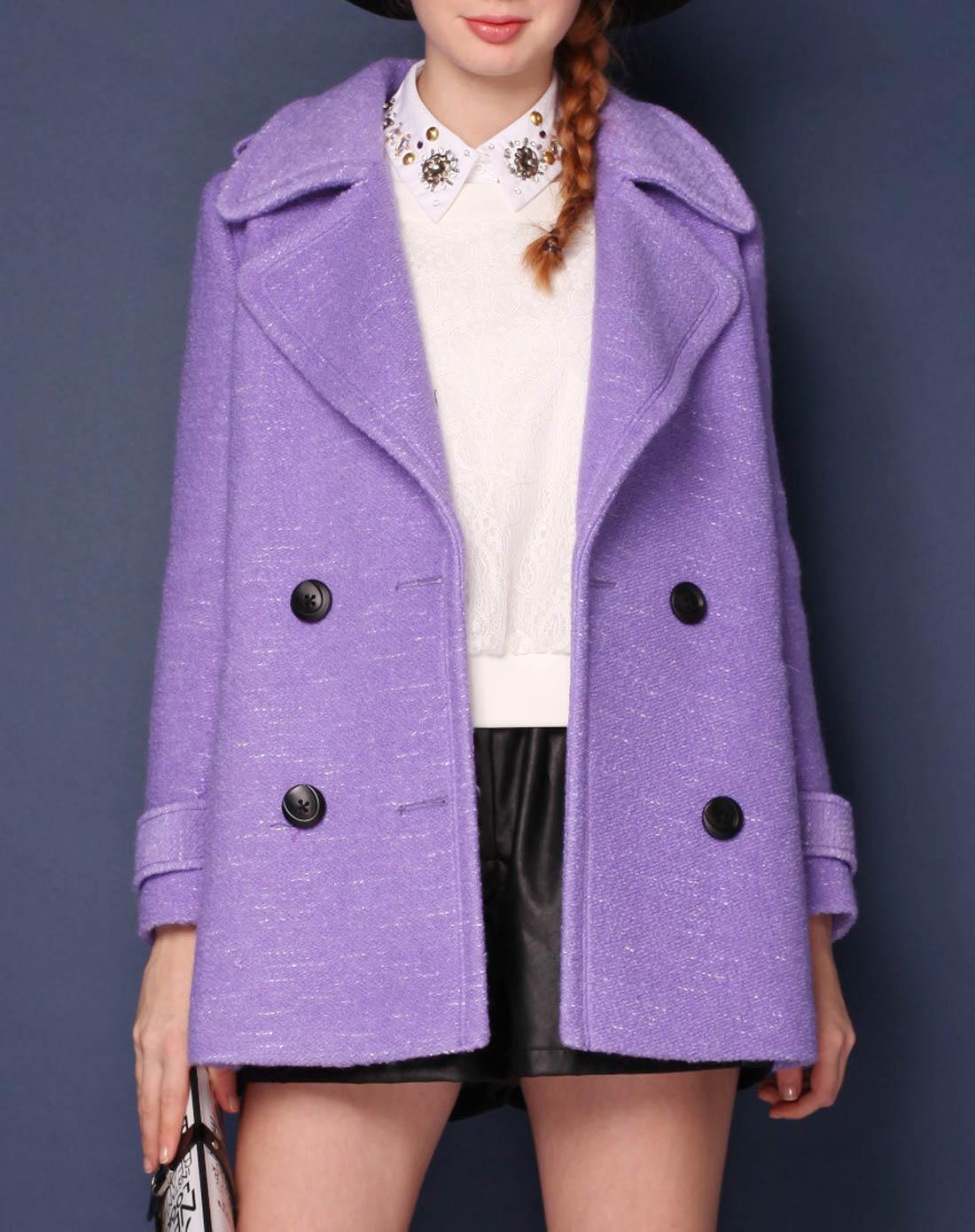 紫色半裙配什么上衣_紫色大衣