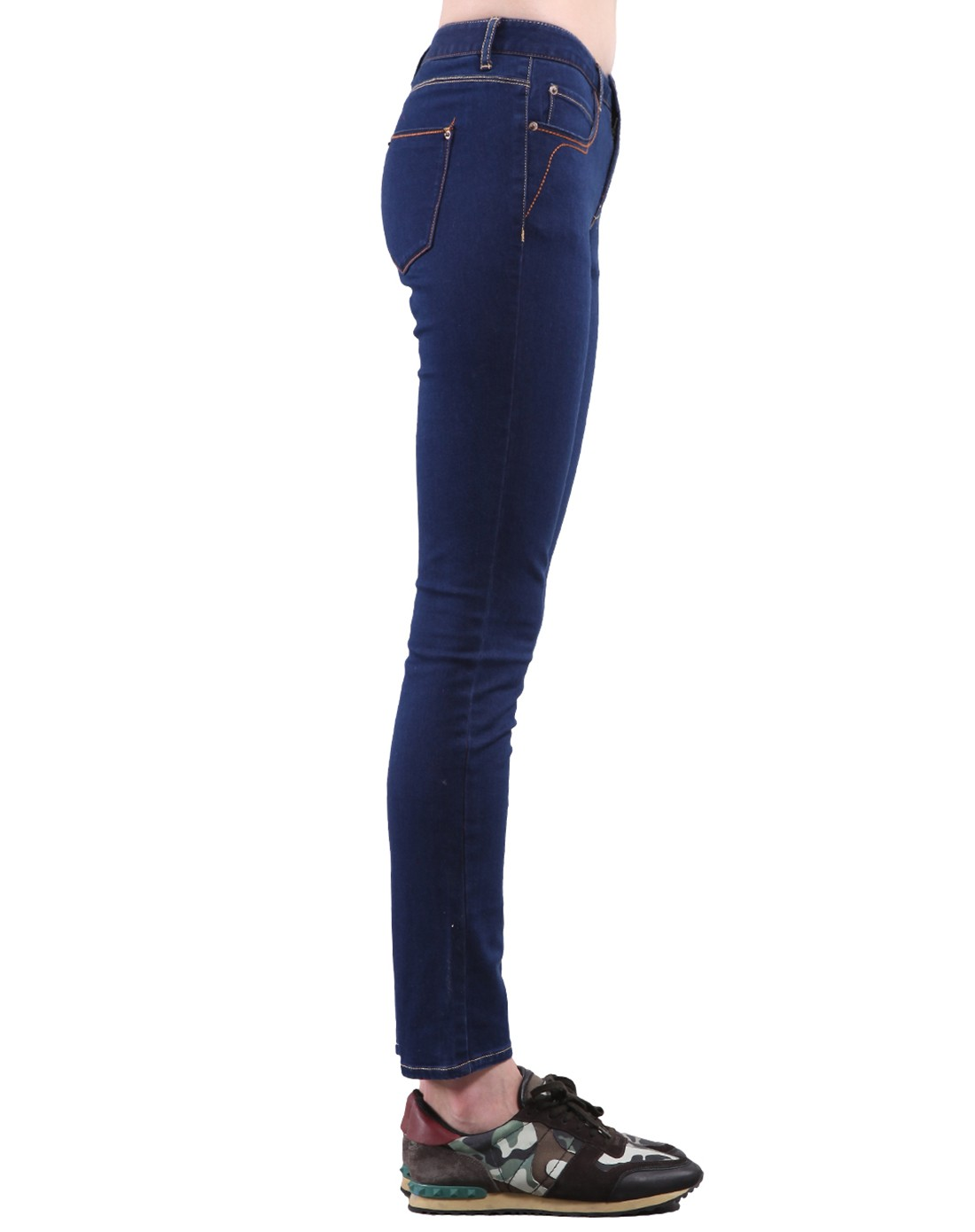 蓝紫女合体彩色牛仔裤