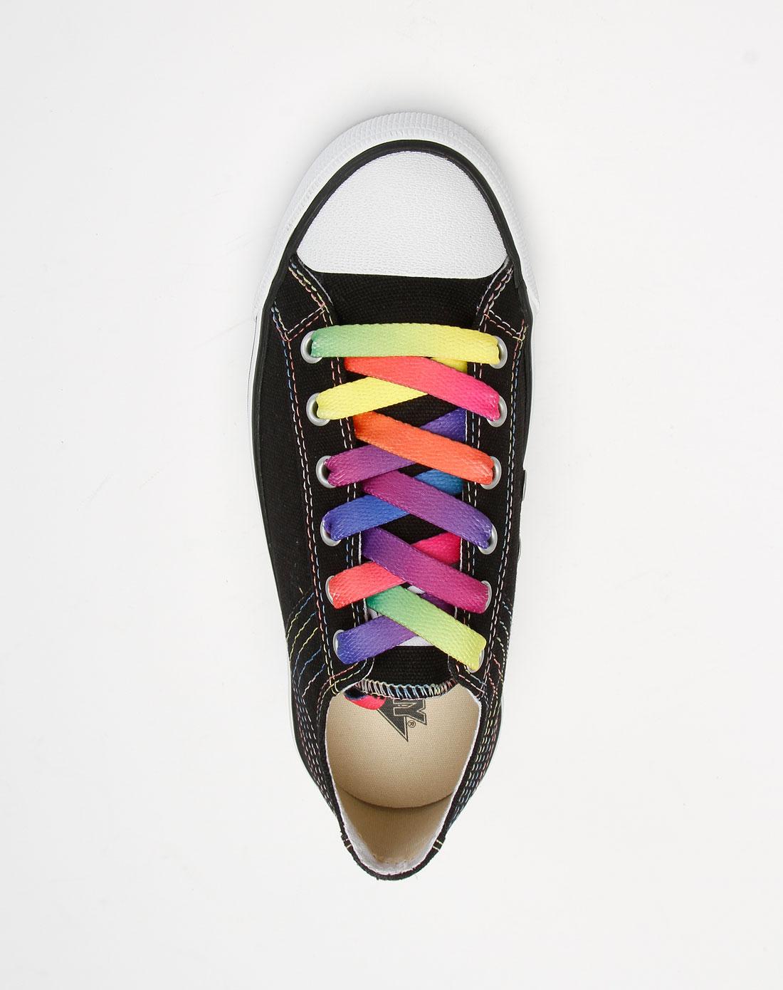 黑/白色休闲彩色鞋带硫化鞋