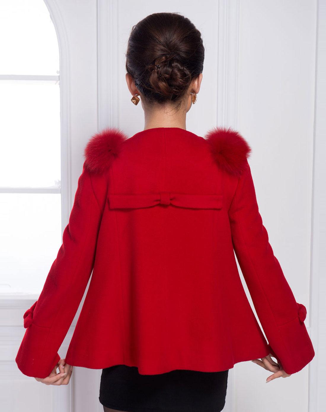 女士大红色短款圆领羊绒大衣图片