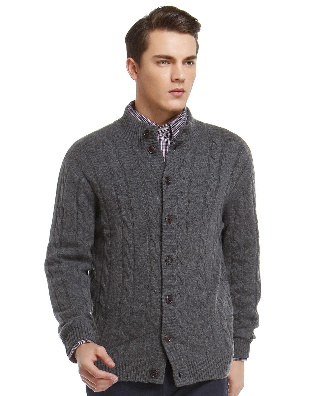 男款灰色长袖针织开衫毛衣 简洁易搭配