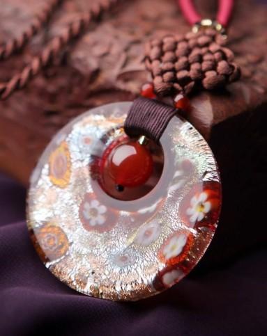 手工编织复古中国结银箔琉璃坠项链