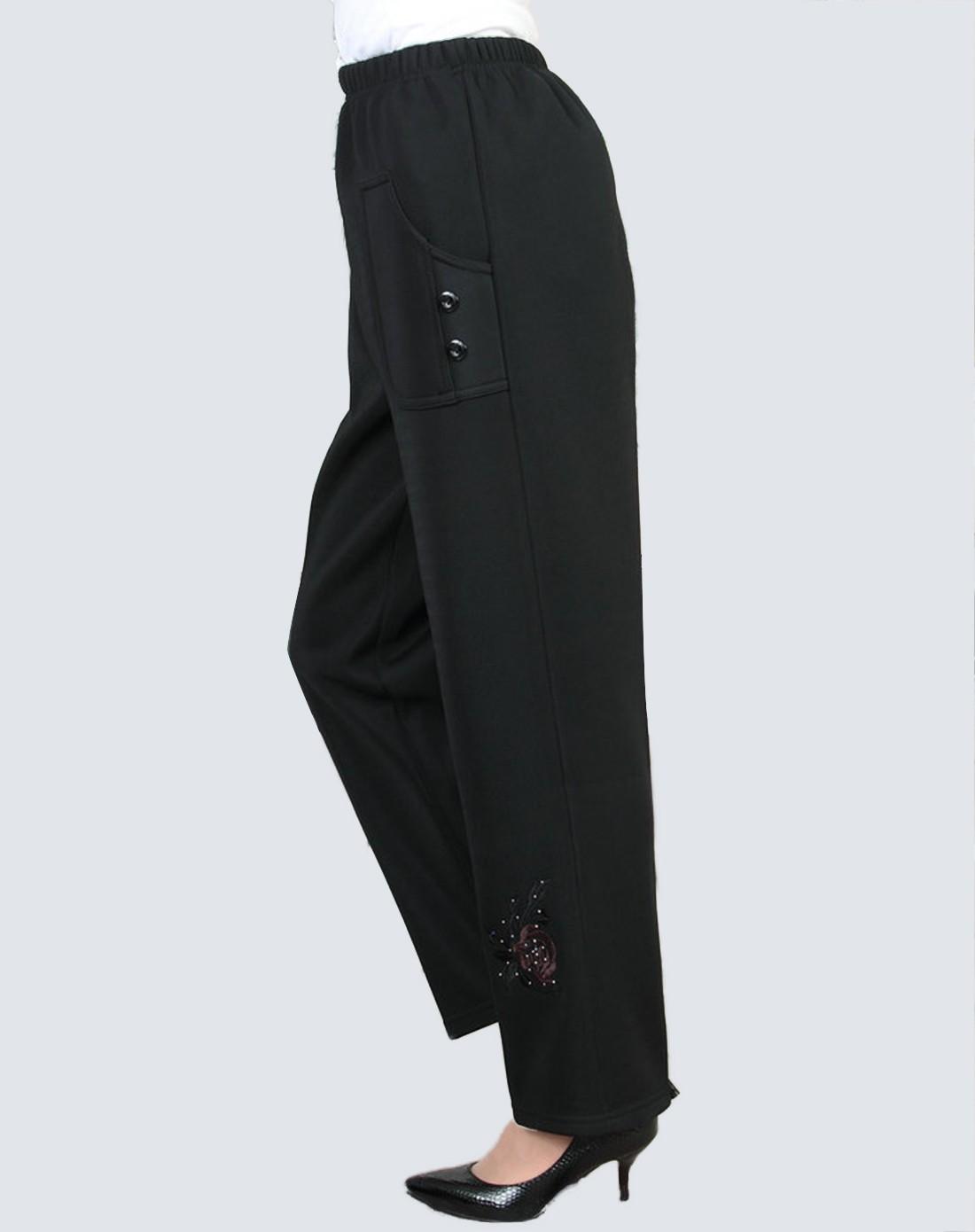 麦子熟了黑色玫瑰花刺绣休闲长裤m144-002m144002062