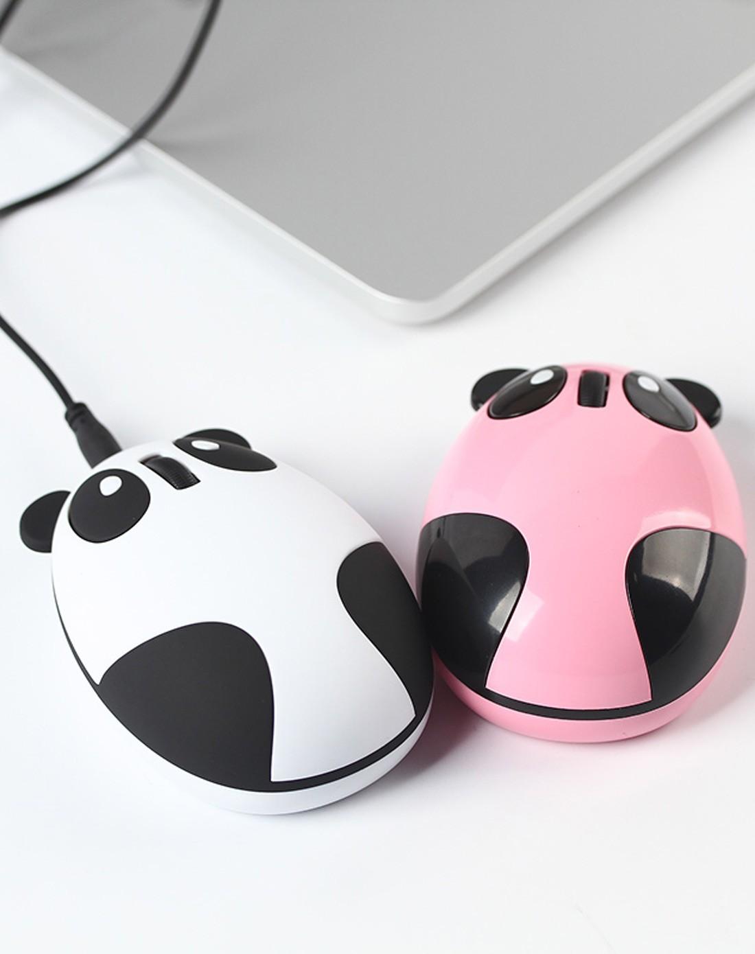 (珠光粉)创意usb无线熊猫鼠标