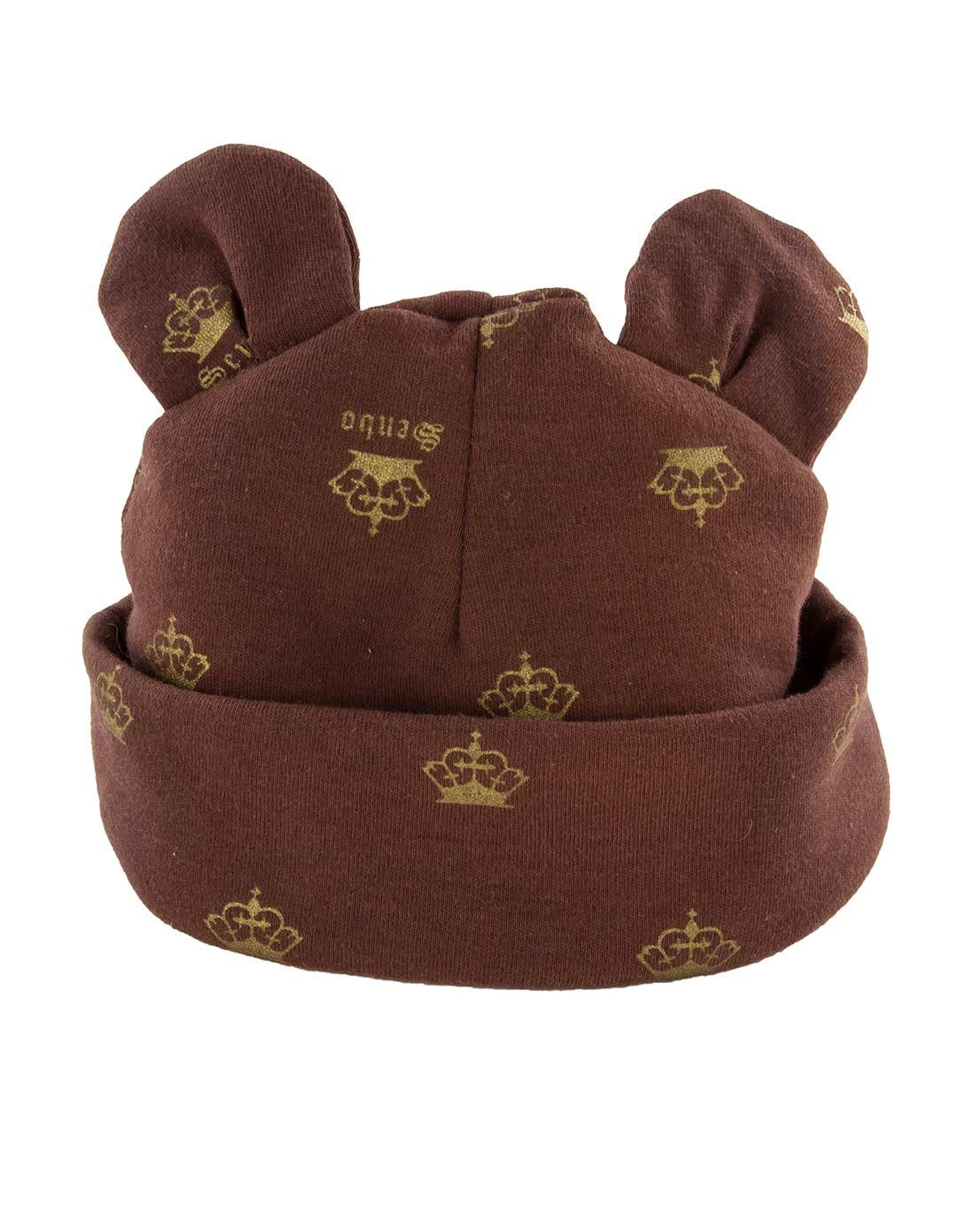 中性咖啡色皇冠宝宝帽
