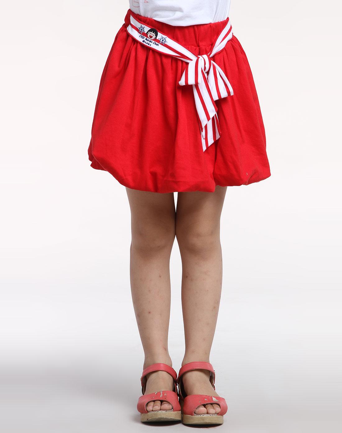 女童红色时尚短裙