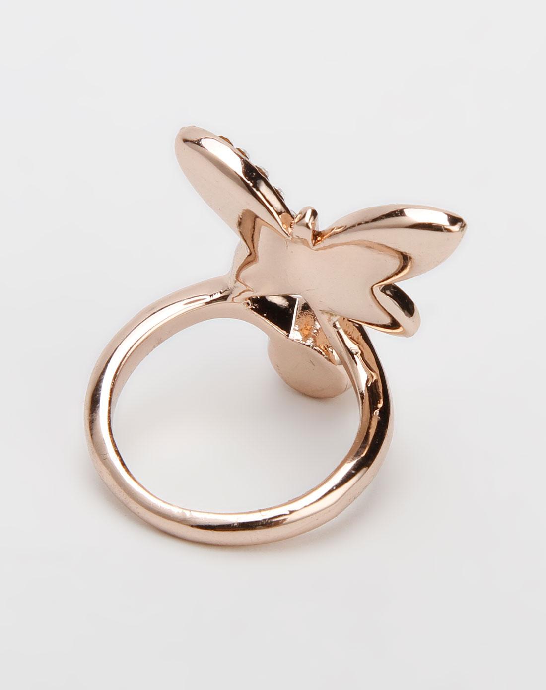 玫瑰金色蝴蝶镶钻戒指