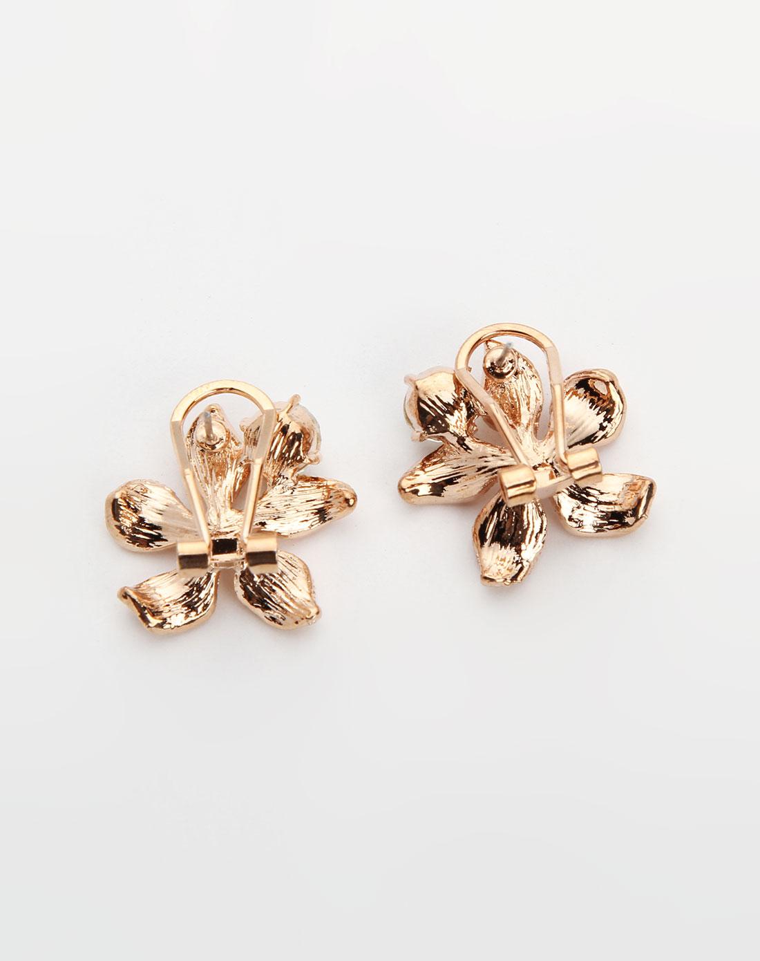 威妮华viennois-金色花形镶钻耳环