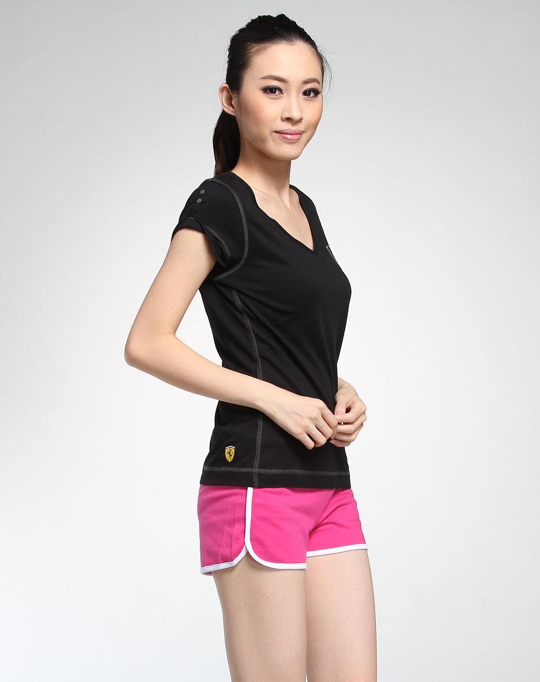 女款黑色v领短袖t恤
