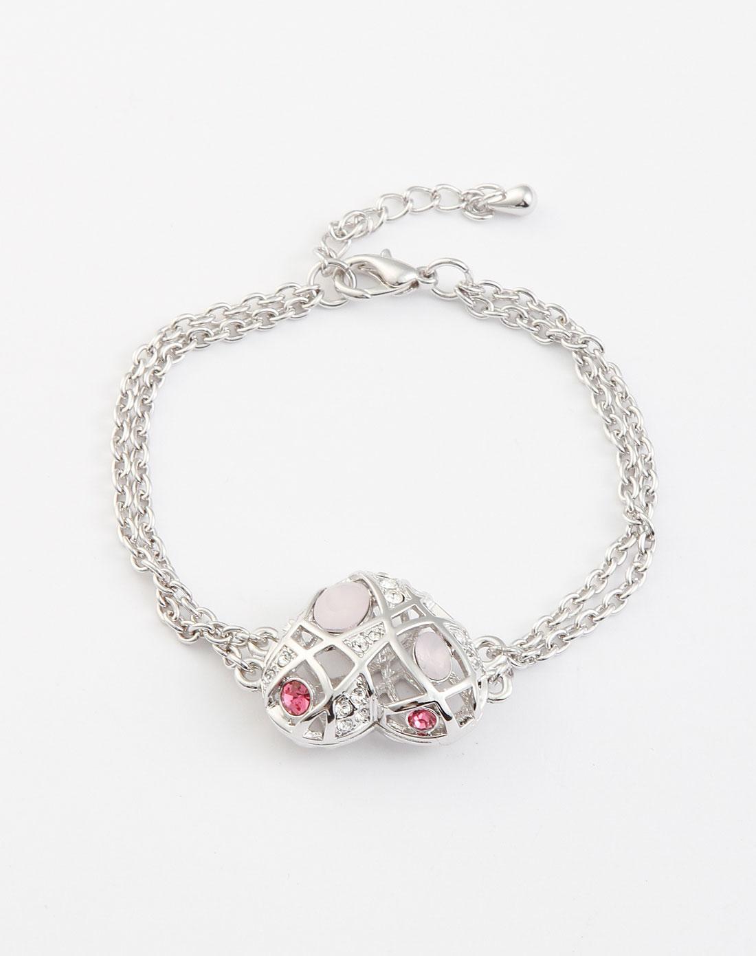 银白/粉色镂空心形手链