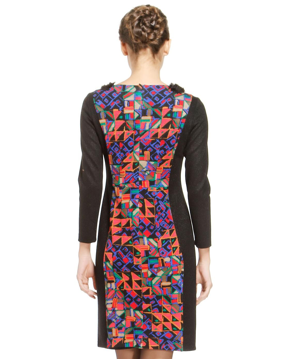 女克兰块手绘几何针织连衣裙