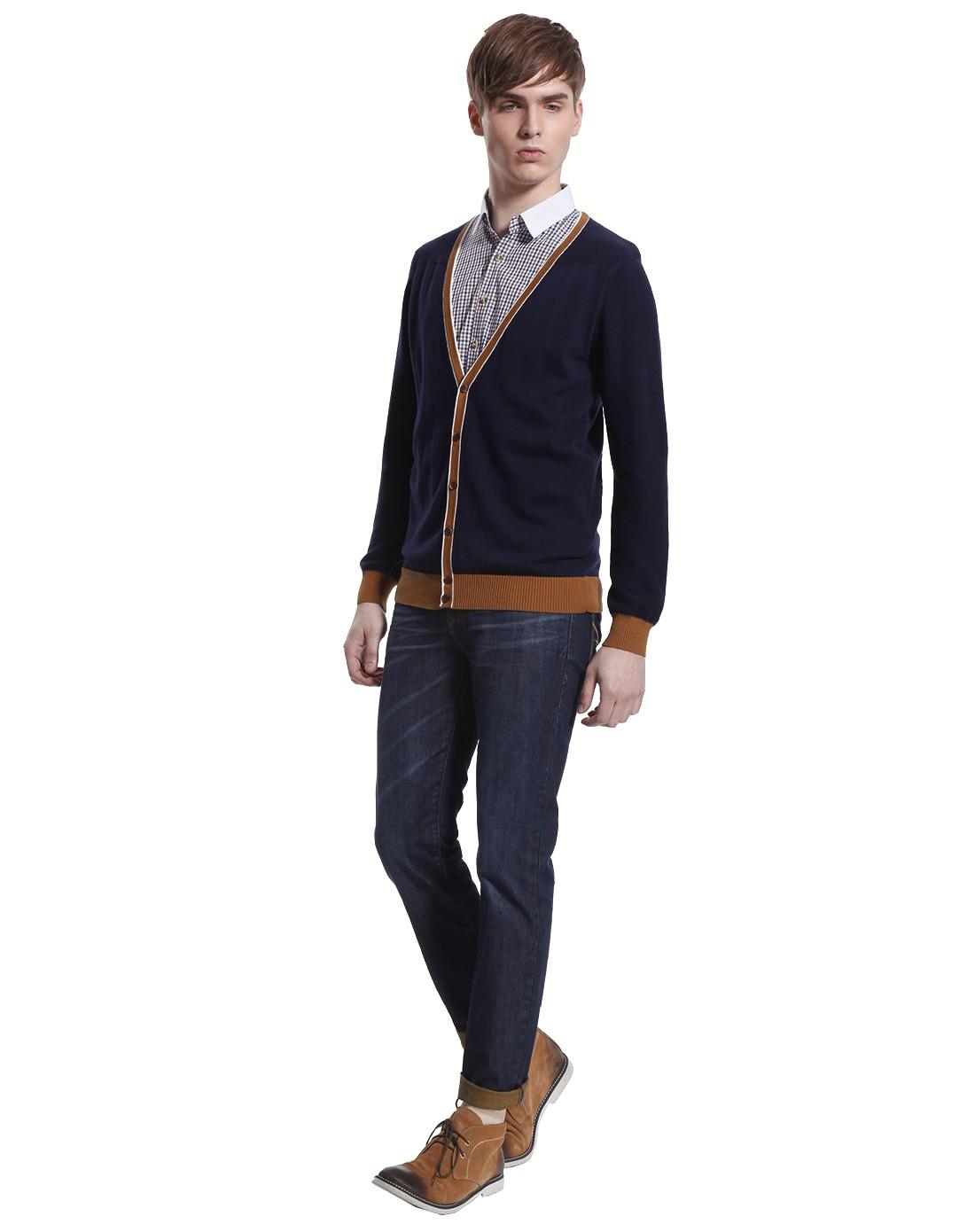 konzen男款宝蓝衬衣领假两件针织衫1331711954_唯品会