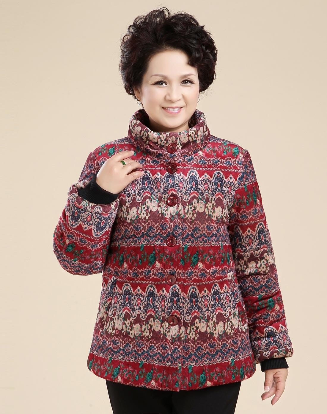 玫红色花横条花纹立领棉衣