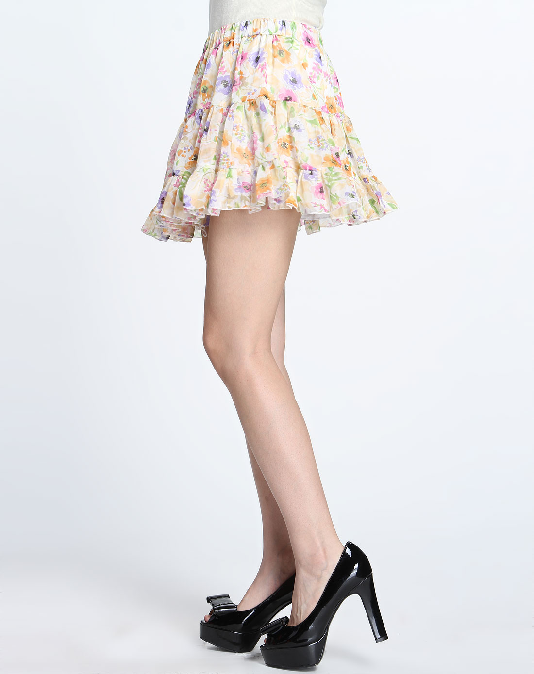 彩色印花短裙
