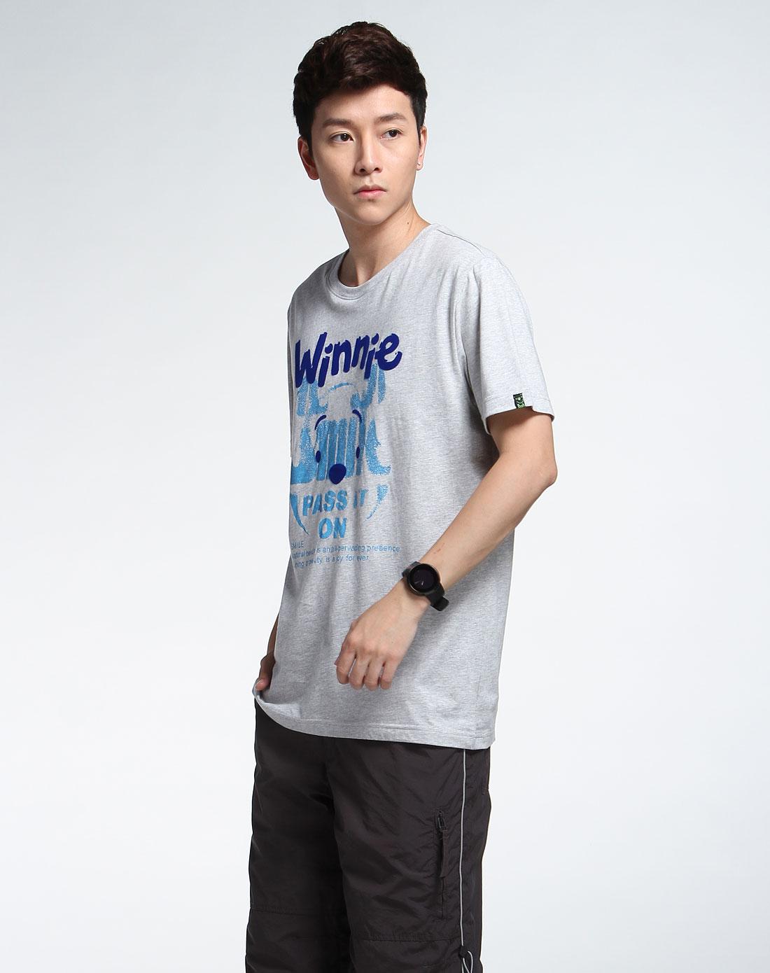 森马男装专场-灰色个性短袖t恤图片