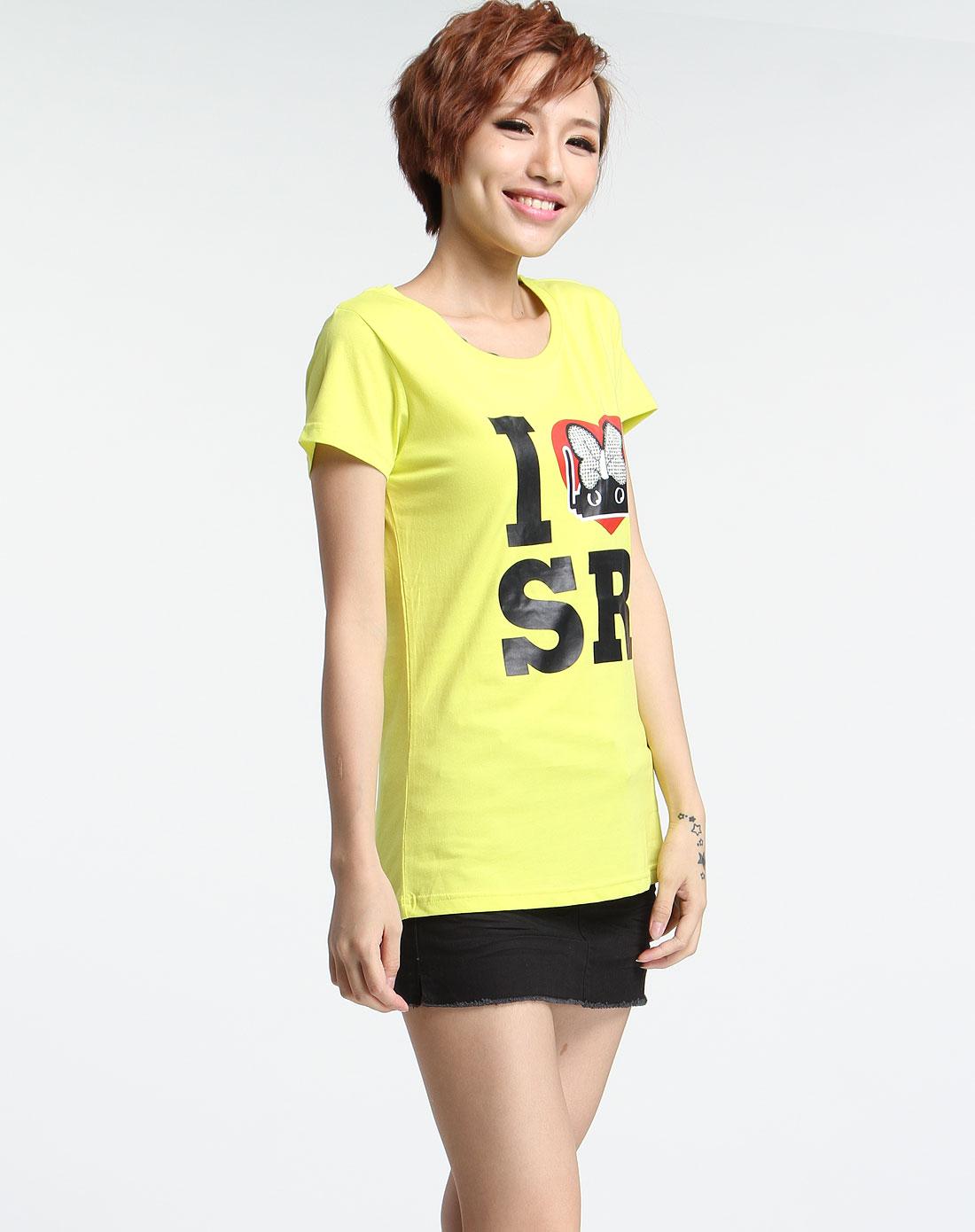 荧光黄色印图短袖t恤